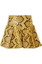 Pleated snake-effect leather mini skirt