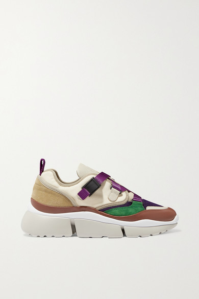 ChloÉ Sonnie Canvas, Mesh, Suede And Leather Sneakers In Viola