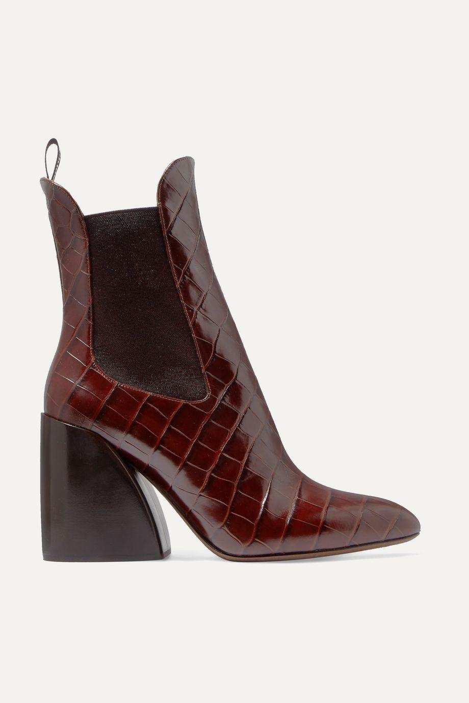 Chloé Wave croc-effect leather ankle boots