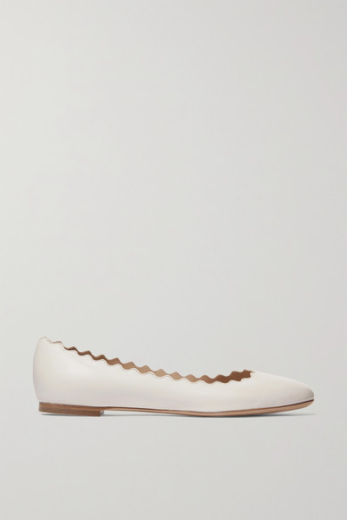 Chloé Leathers Lauren scalloped leather ballet flats