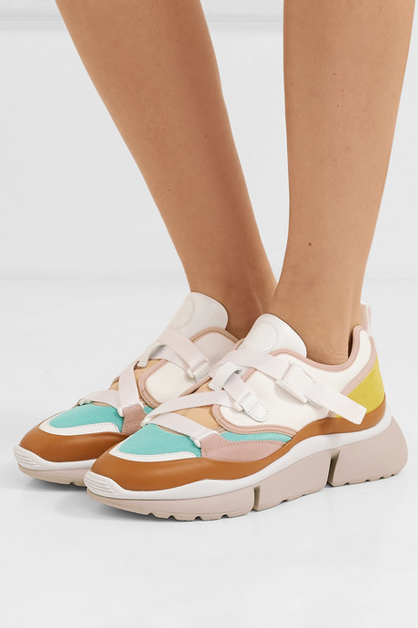 Sonnie canvas, mesh, suede and leather sneakers