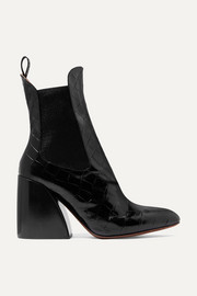 Chloé Wave croc-effect leather ankle boots
