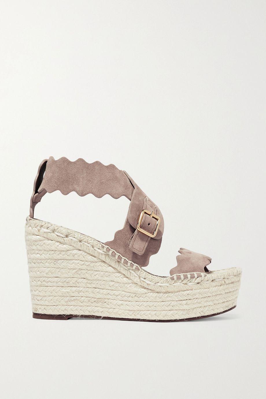 Chloé Lauren 扇贝边绒面革麻底坡跟凉鞋