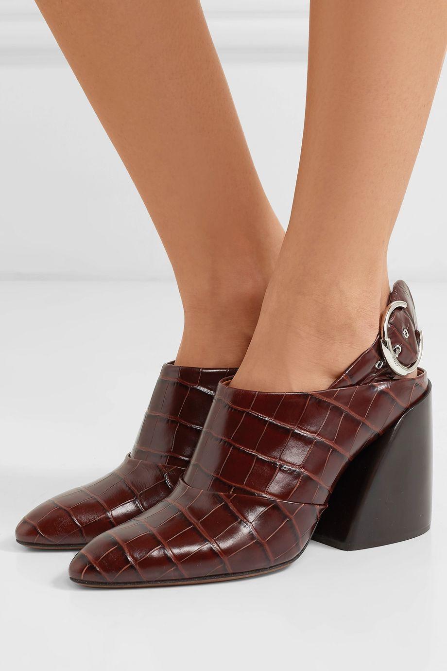 Chloé Wave croc-effect leather slingback pumps