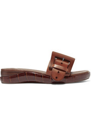Wave buckled croc-effect leather slides