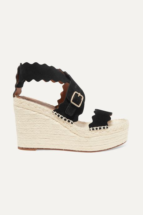 Black Lauren scalloped suede espadrille wedge sandals   Chloé mDtENO