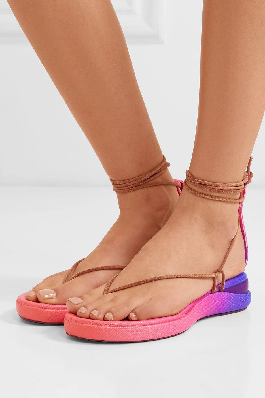 Chloé Wave dégradé lizard-effect leather sandals