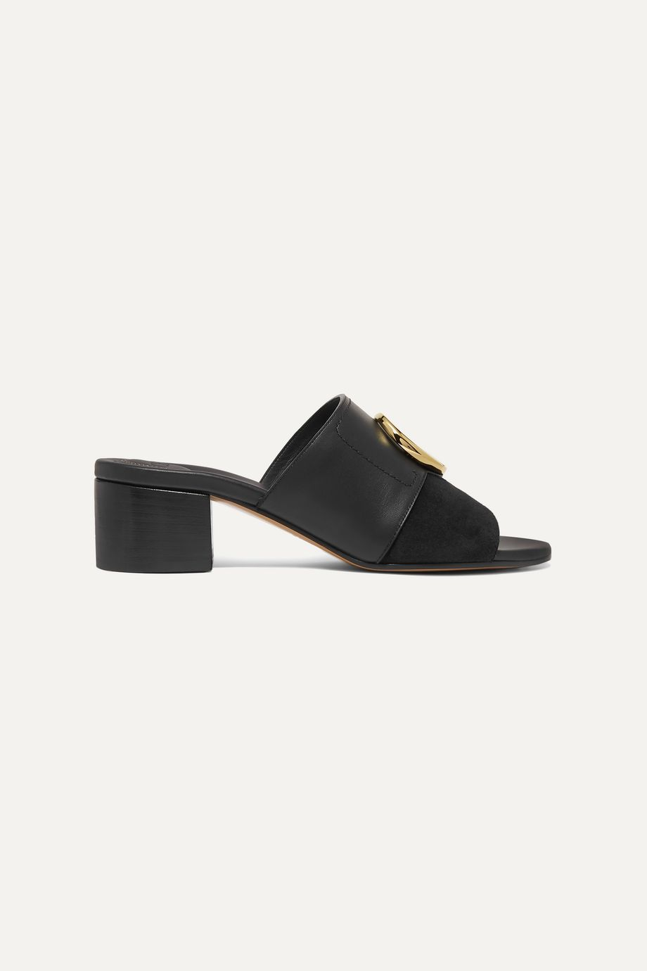 Chloé Chloé C logo-embellished leather and suede mules
