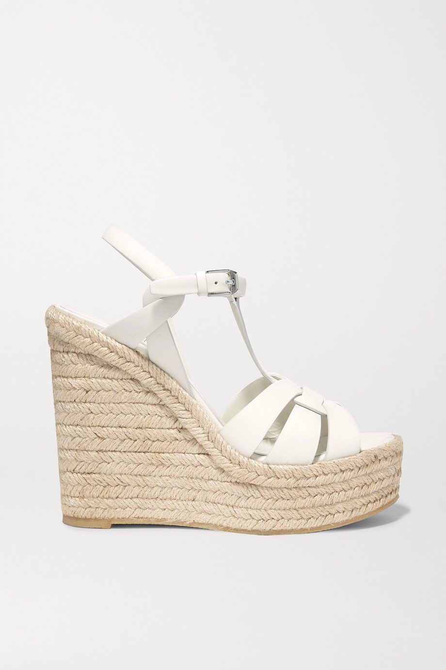 SAINT LAURENT Tribute Espadrille-Wedges aus Leder in Flechtoptik