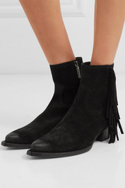 Lukas distressed fringed suede ankle boots