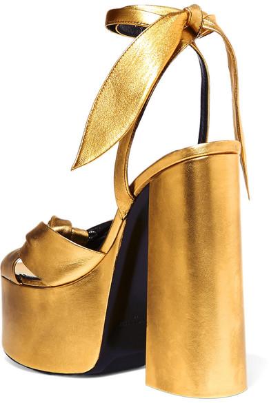 a7031db0b18b SAINT LAURENT. Paige metallic leather platform sandals. £642. Zoom In