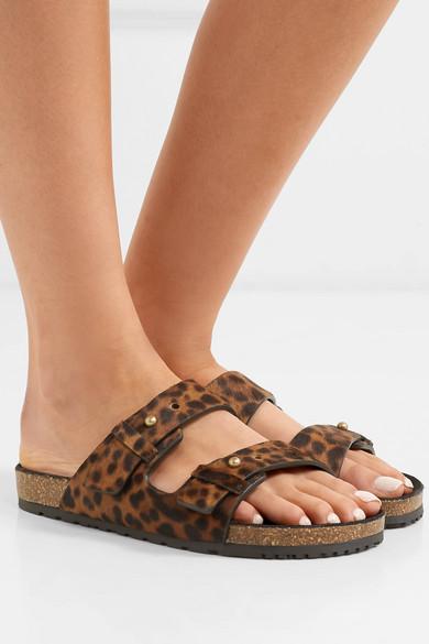 Saint Laurent Slippers Jimmy leopard-print calf hair slides