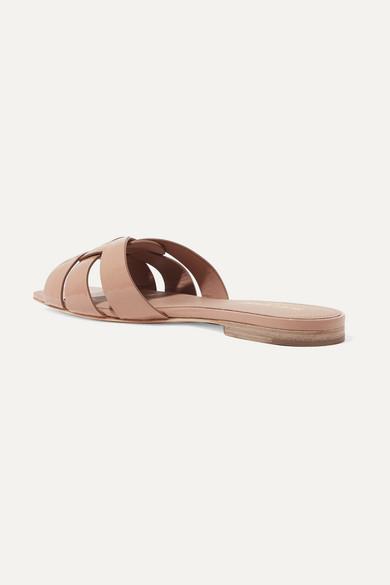 Saint Laurent Slippers Nu Pieds woven patent-leather slides