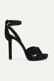 Saint Laurent Hall Plateausandalen aus Veloursleder mit Schleifen