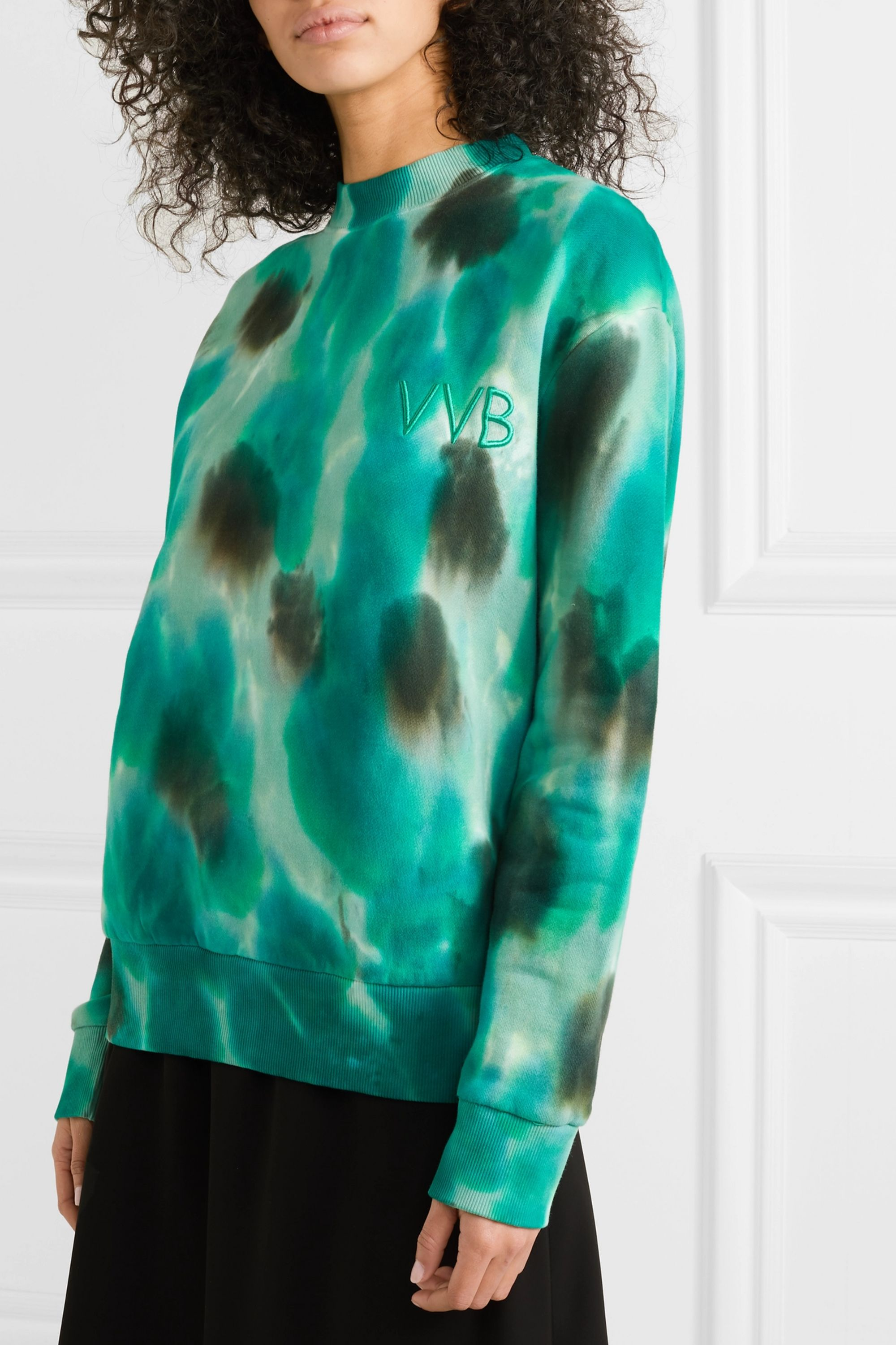 Victoria, Victoria Beckham Oversized embroidered tie-dyed cotton-fleece sweatshirt