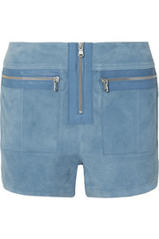 Victoria, Victoria Beckham Leather-trimmed suede shorts
