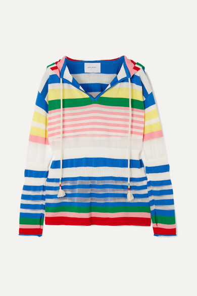 Mira Mikati Knits Striped cotton-blend hoodie