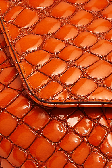 Dries Van Noten Clutch Croc-effect patent-leather clutch