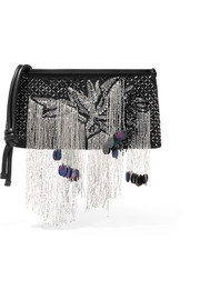 Embellished leather-trimmed canvas clutch