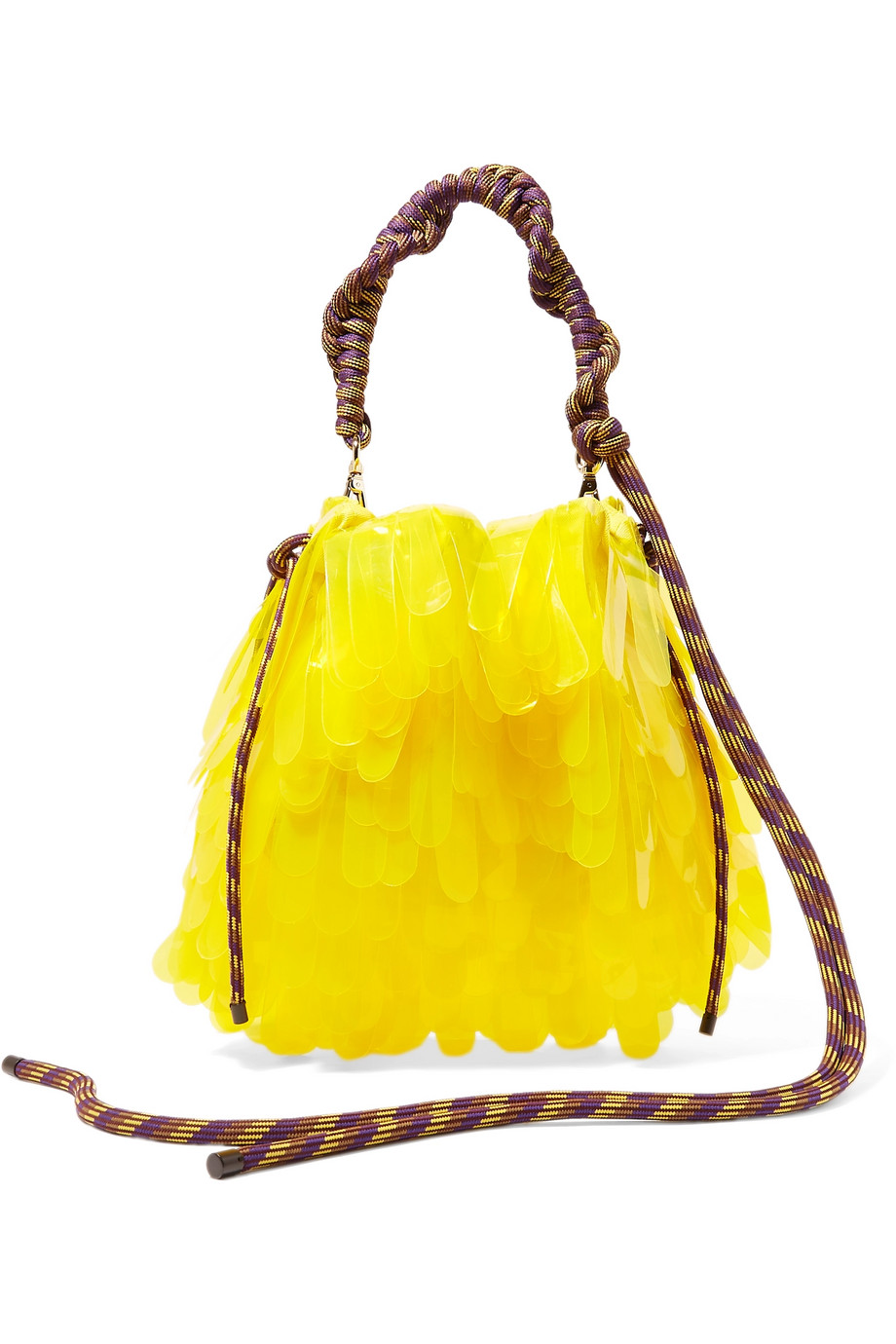 Exact Product: Rope-trimmed PVC-embellished tulle and canvas tote, Brand: Dries Van Noten, Available on: net-a-porter.com, Price: $725