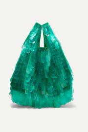 드리스 반 노튼 PVC 튤 장식 캔버스 토트백 Dries Van Noten PVC-embellished tulle and canvas tote