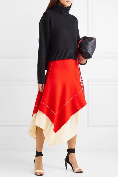 Victoria Beckham Knits Two-tone asymmetric stretch-knit midi skirt