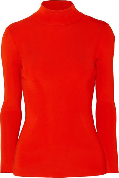 Victoria Beckham Tops Open-back ribbed-knit turtleneck sweater