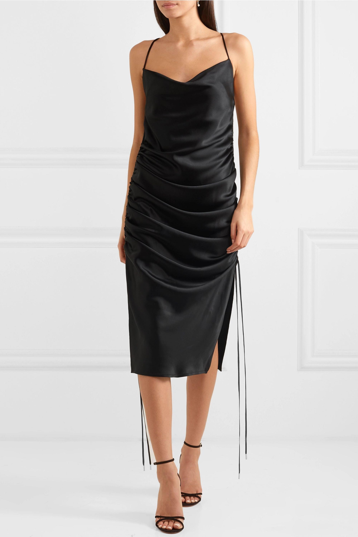 Galvan Yasmine ruched silk-satin dress