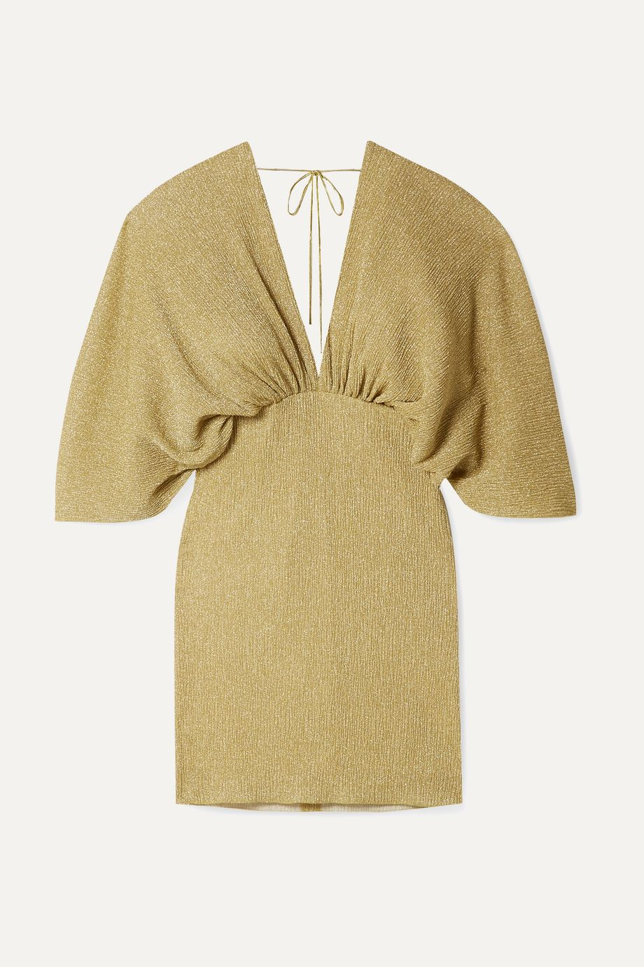 ROTATE Birger Christensen Gathered metallic stretch-knit mini dress