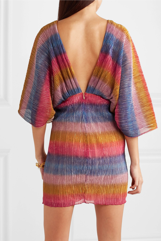 ROTATE Birger Christensen Mini-robe plissée en mailles stretch métallisées à rayures