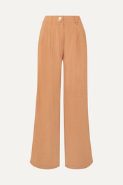 Eddie pleated chambray wide-leg pants