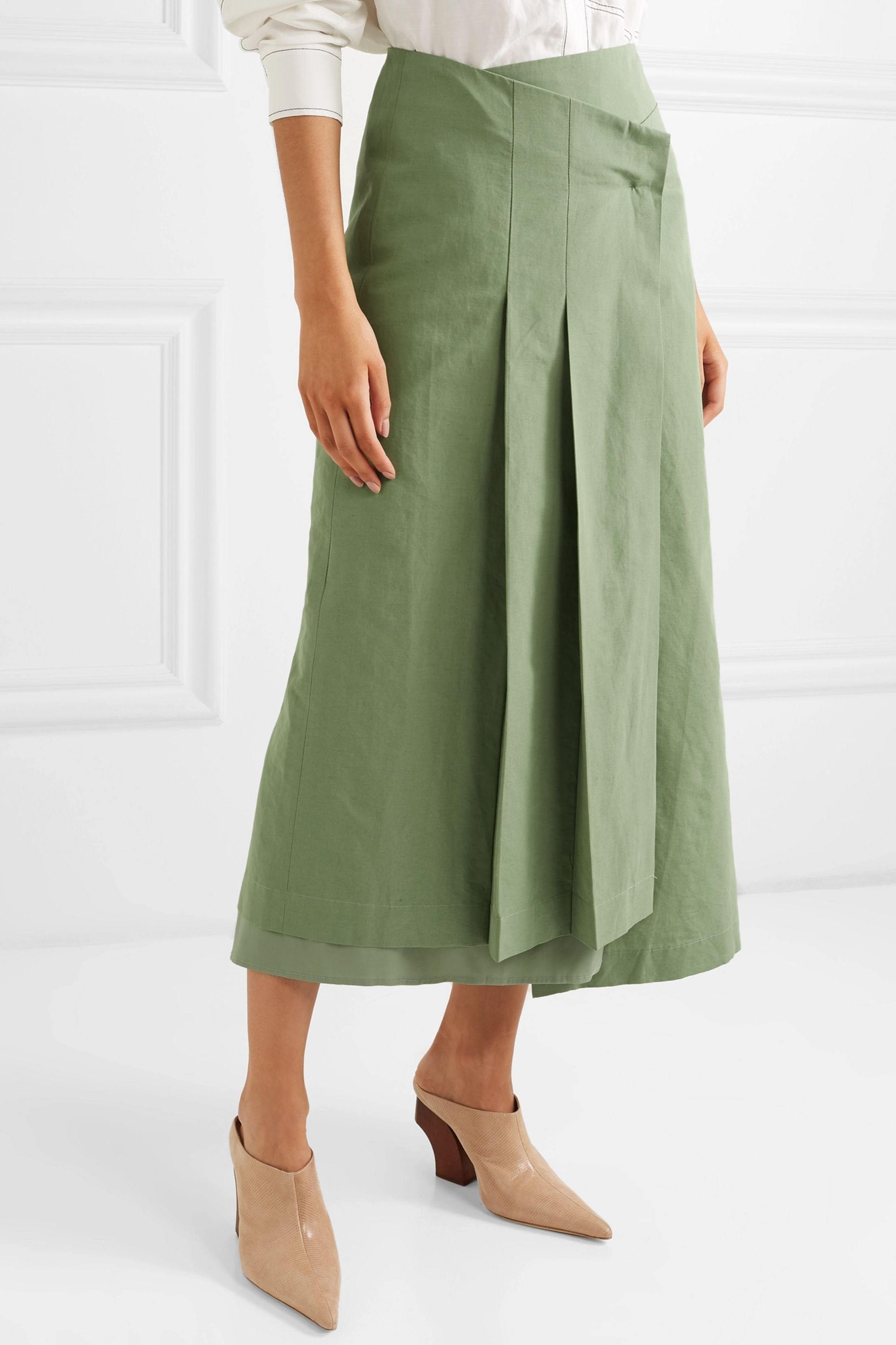 REJINA PYO Laurie cotton and linen-blend and silk wrap skirt