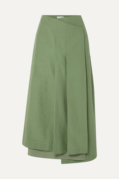 Rejina Pyo Skirts LAURIE COTTON AND LINEN-BLEND AND SILK WRAP SKIRT