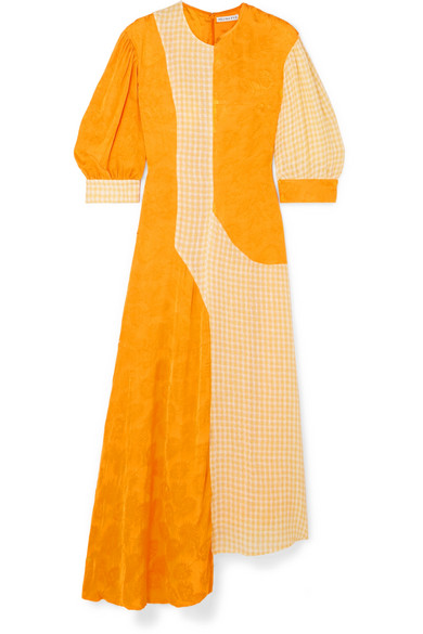 Rejina Pyo Dresses DYLAN ASYMMETRIC PANELED CHECKED LINEN AND SATIN-JACQUARD MIDI DRESS