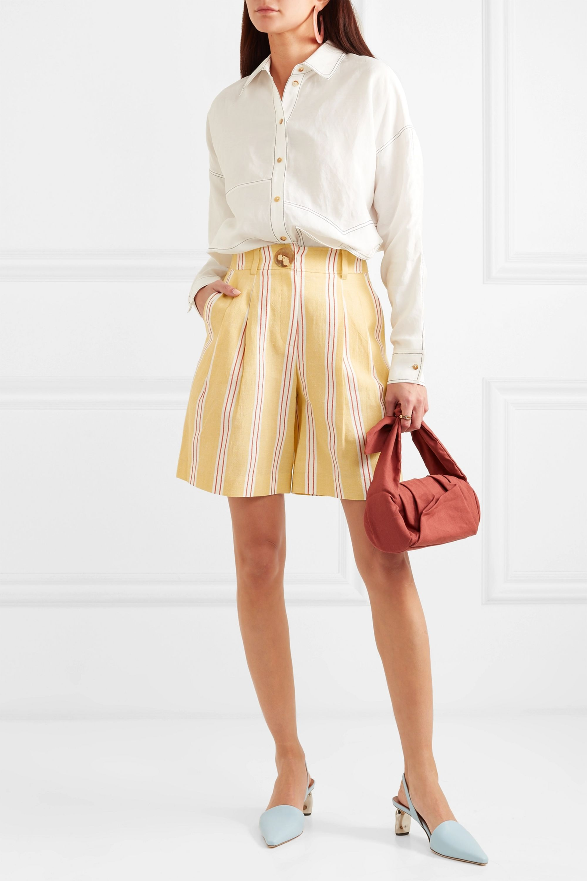 REJINA PYO Renee striped cotton and linen-blend shorts