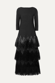 Alaïa Tiered raffia-trimmed stretch-knit midi dress