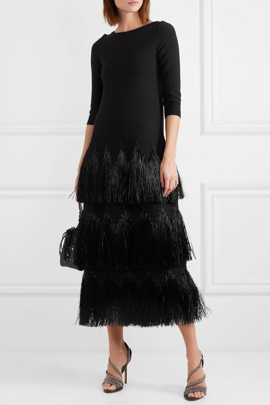 Alaïa Tiered raffia-trimmed stretch-knit midi dress