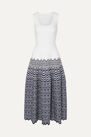 Alaïa Scalloped jacquard-knit midi dress