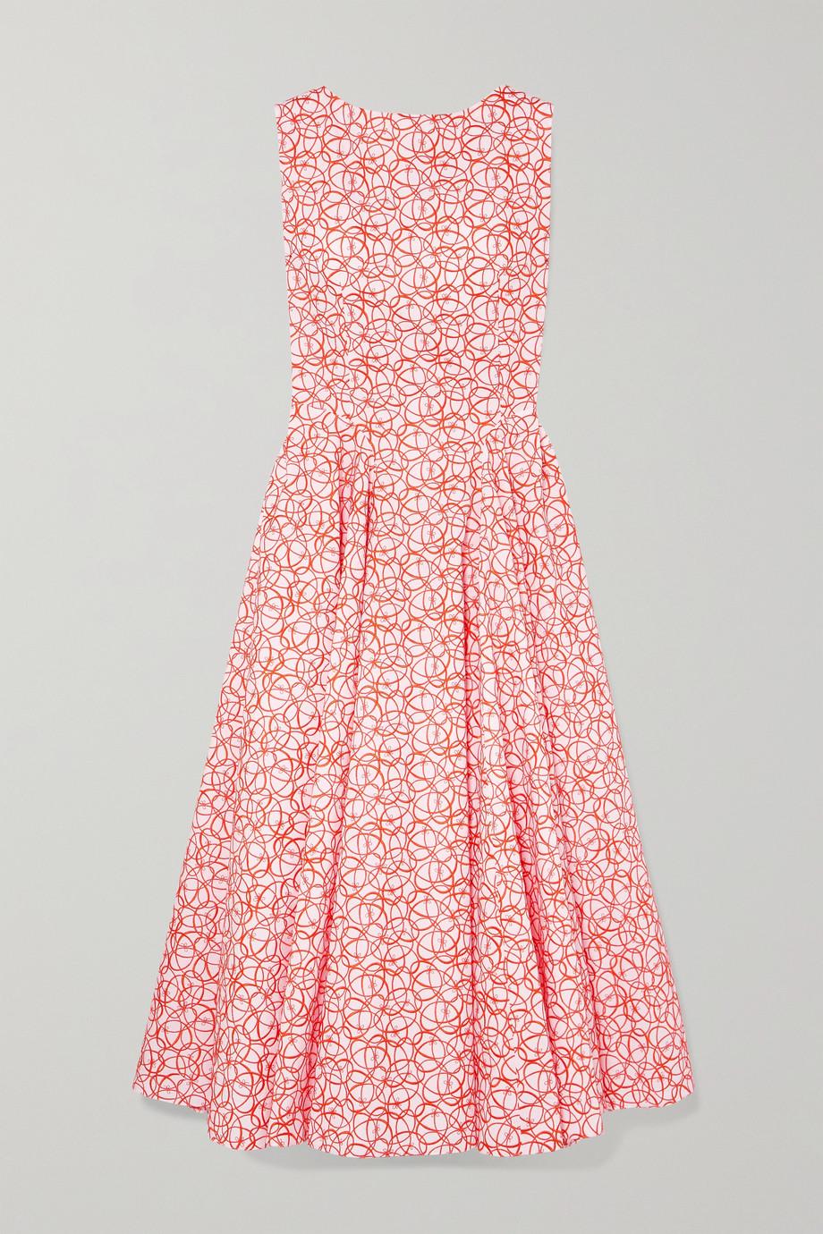 Alaïa Embroidered cotton-poplin midi dress
