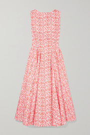 Alaïa Embroidered cotton-poplin midi dress