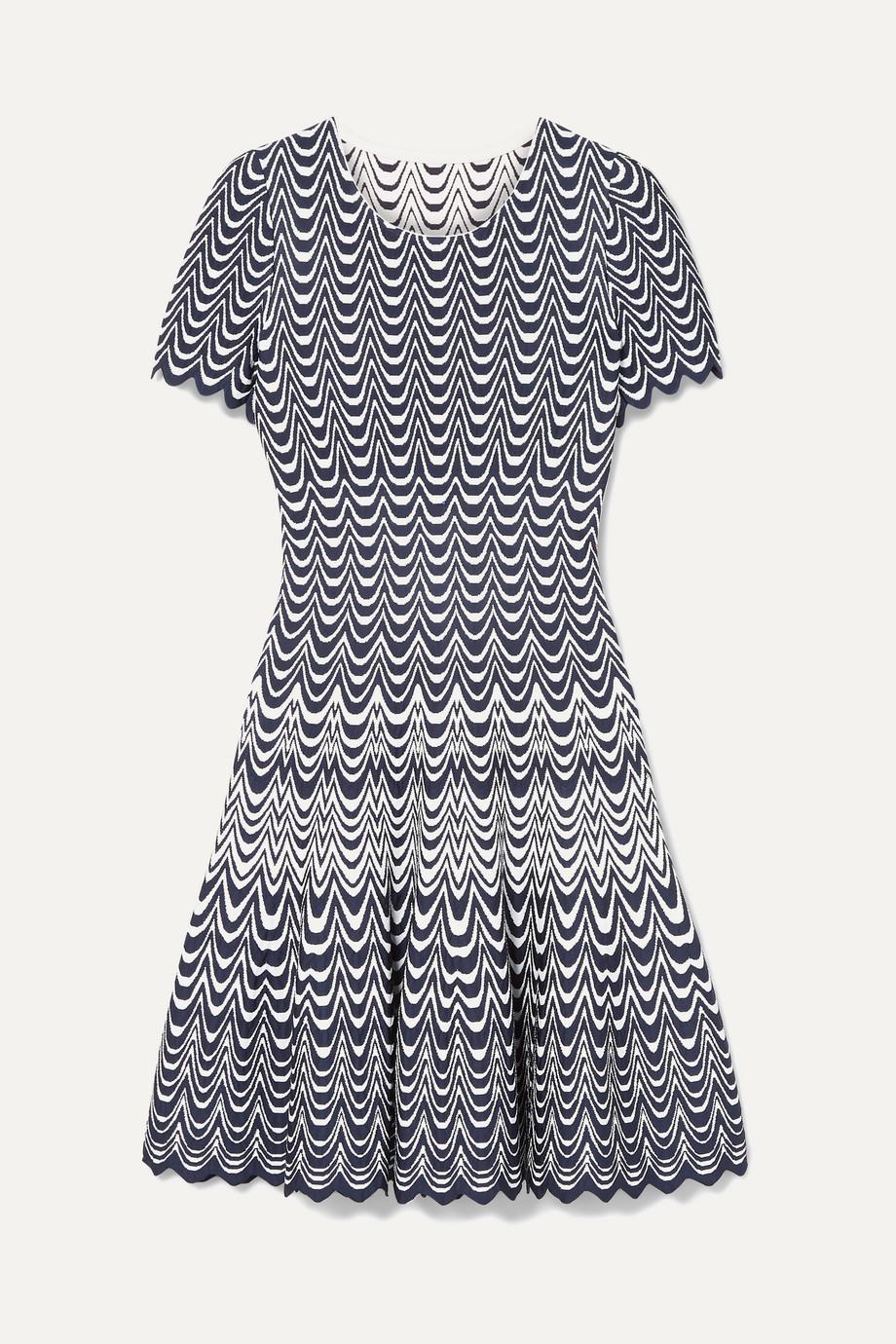 Alaïa Scalloped jacquard-knit mini dress