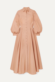 Pleated cotton-poplin dress