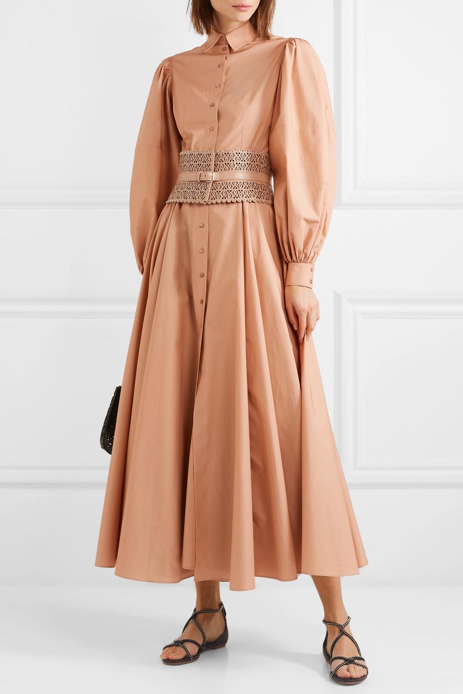 Alaïa Pleated cotton-poplin dress