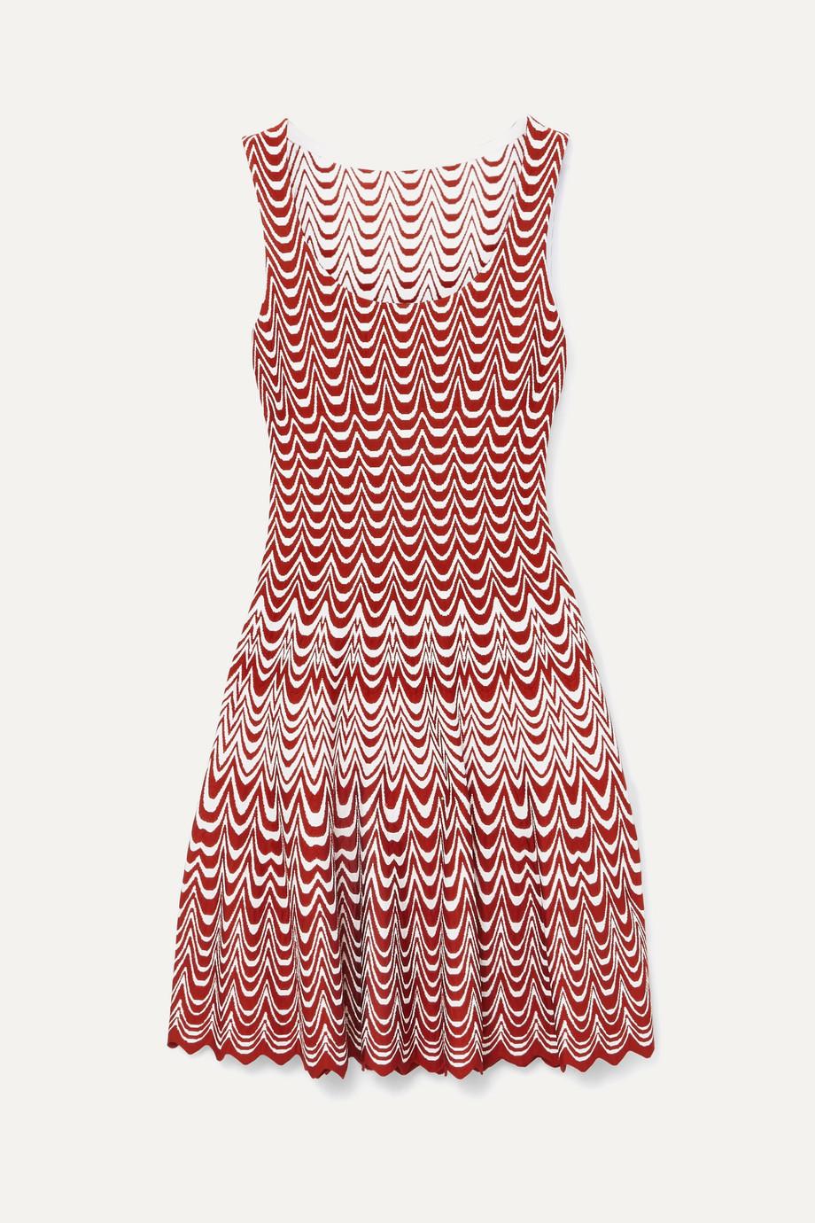 Alaïa Jacquard-knit scalloped mini dress