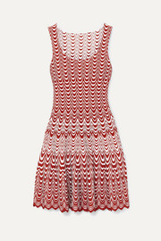 Alaïa Jacquard-knit scalloped mini dress