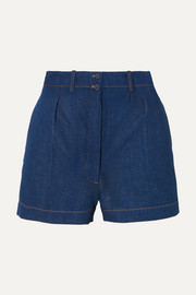 Alaïa Pleated denim shorts