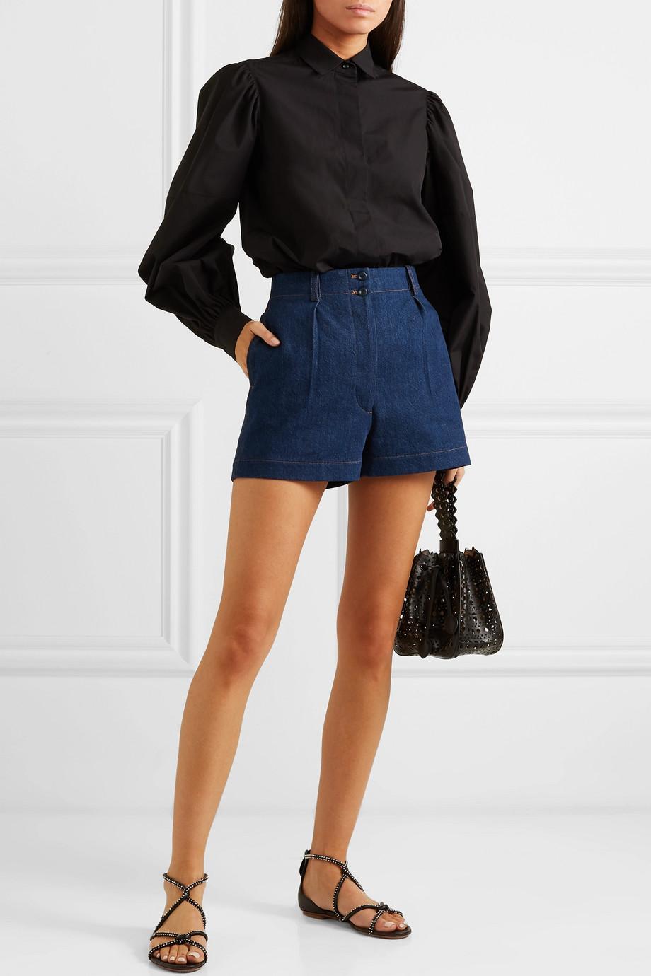 Alaïa Pleated denim shorts