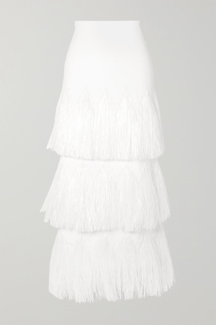 Alaïa Tiered raffia-trimmed stretch-knit midi skirt