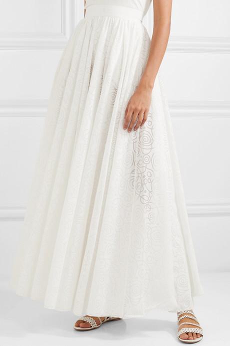 Pleated cotton-blend jacquard maxi skirt