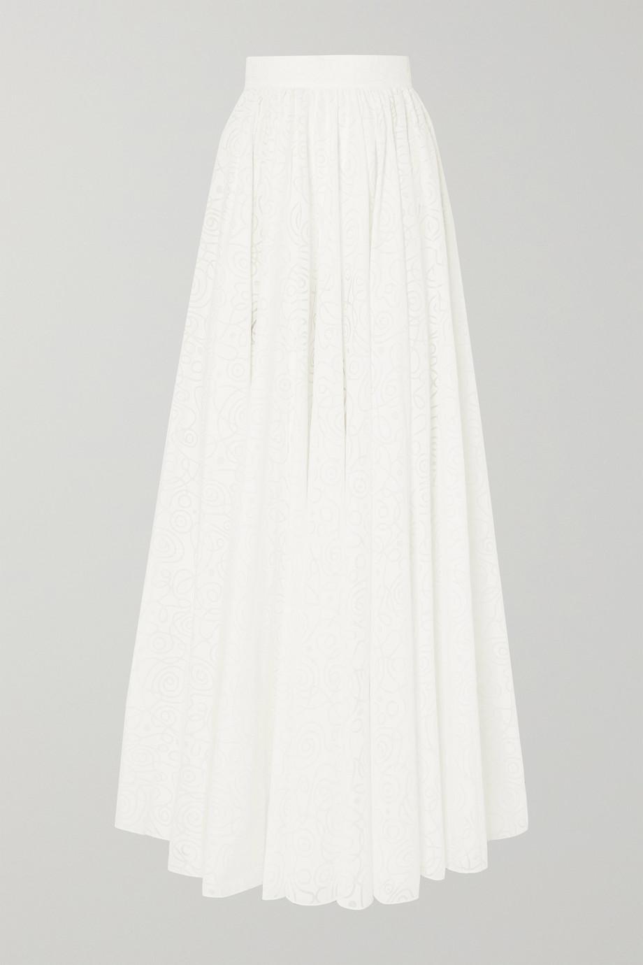 Alaïa 褶裥棉质混纺提花超长半身裙